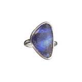 APP: 0.9k Fine Jewelry 6.81CT Free Form Blue Boulder Brown Opal And Sterling Silver Ring