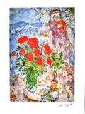 MARC CHAGALL Red Bouquet with Lovers Lithograph, I392 of 500