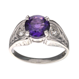Fine Jewelry Designer Sebastian 1.41CT Round Cut Amethyst And White Topaz Sterling Silver Ring