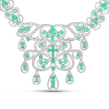 APP: 5.4k 18.55 Round Cut Emerald and White Diamond .925 Sterling Silver Necklace -Tantalizing Quali