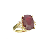 APP: 3.6k Fine Jewelry 14 KT Gold, 10.42CT Cushion Cut Ruby And White Sapphire Ring