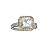 APP: 1.8k Fine Jewelry 10kt White Gold 1.98CT Square Cushion Cut Aquamarine And Diamond Ring