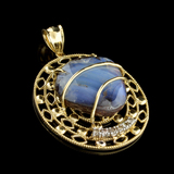 APP: 5.3k 14 kt. Yellow/White Gold, Multi Colored Boulder Opal And Diamond Pendant