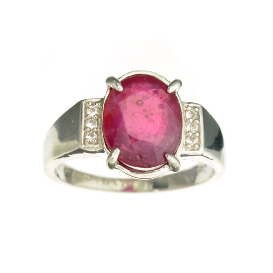 Fine Jewelry Designer Sebastian 4.00CT Ruby And Colorless Topaz Platinum Over Sterling Silver Ring