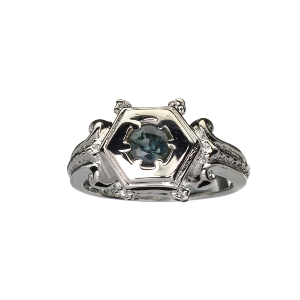 APP: 1.3k Fine Jewelry 0.50CT Round Cut Green Sapphire And Platinum Over Sterling Silver Ring