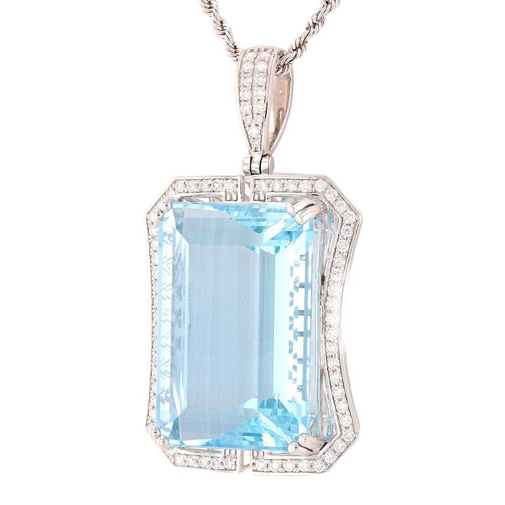 APP: 50k *54.80ct Aquamarine and 0.86ctw Diamond Platinum Pendant/Necklace (GIA CERTIFIED) (Vault_R7