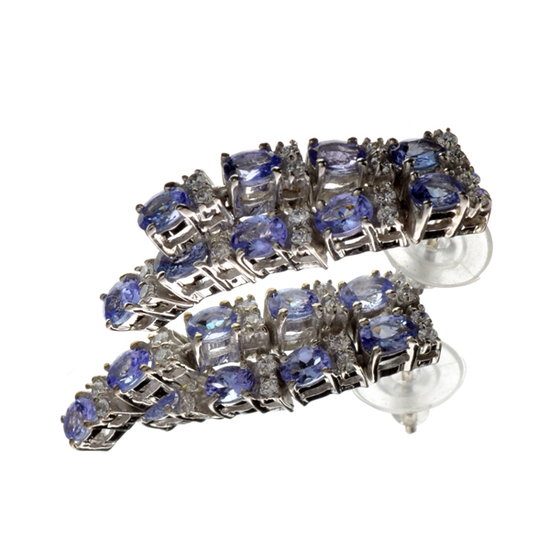 APP: 3.2k 3.56CT Tanzanite And Colorless Quartz Platinum Over Sterling Silver Earrings