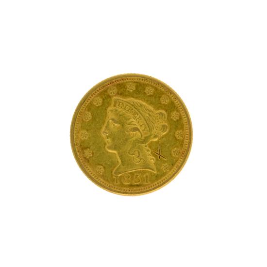 *1851 $2.5 Liberty Head Gold Coin (DF)