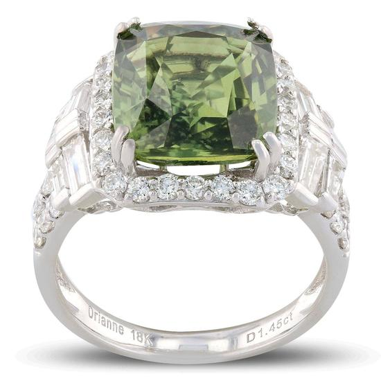 APP: 50.2k *8.09ct UNHEATED GREEN Sapphire and 1.45ctw Diamond 18K White Gold Ring (GIA CERTIFIED) (