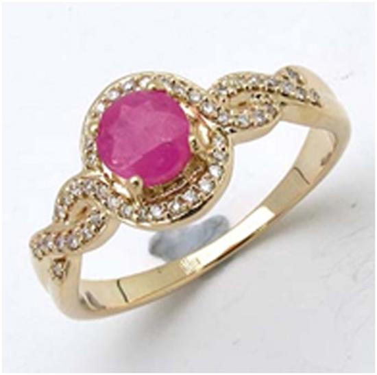 *Fine Jewelry 14K Gold, 3.32CT Ruby Round And White Round Diamond Ring (Q-R19282RWD-14KY)