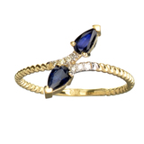 APP: 0.8k Fine Jewelry 14 KT Gold, 0.53CT Blue Sapphire And Diamond Ring