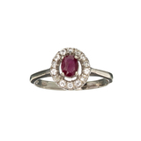 APP: 0.5k Fine Jewelry 0.81CT Oval Cut Ruby And White Sapphire Sterling Silver Ring