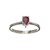 APP: 0.7k Fine Jewelry Designer Sebastian 0.50CT Pear Cut Ruby And Sterling Silver Ring