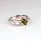 *Fine Jewelry 14 kt. Gold, New Custom Made 0.95CT Tsavorite And 0.20CT Diamond One Of a Kind Ring