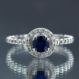 APP: 2.4k *Fine Jewelry 14KT White Gold, 0.64CT Round Brilliant Cut Blue Sapphire And 0.16CT Diamond