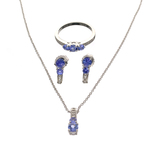 Fine Jewelry 3.15CT Tanzanite And  White Topaz Sterling Silver Ring, Earrings & Pendant W Chain Set