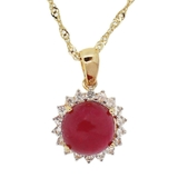 APP: 1.3k *Silver 5.19ct Ruby and 0.57ctw White Sapphire Silver Pendant/Necklace (Vault_R8_15173)