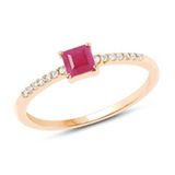 *Fine Jewelry 14 KT Gold, 1.42CT Ruby Square And White Round Diamond Ring (Q-R20622RWD-14KY)