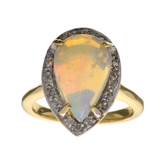 APP: 3.2k 14 kt. Yellow/White Gold, 1.97CT White Fire Opal And Diamond Ring