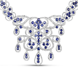 APP: 6.3k 25.74 Round Cut Sapphire and White Diamond .925 Sterling Silver Necklace -Superior Piece!