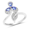 *Fine Jewelry 14 KT White Gold, 3.52CT Tanzanite And White Diamond Ring (Q-R20551TANWD-14KW)