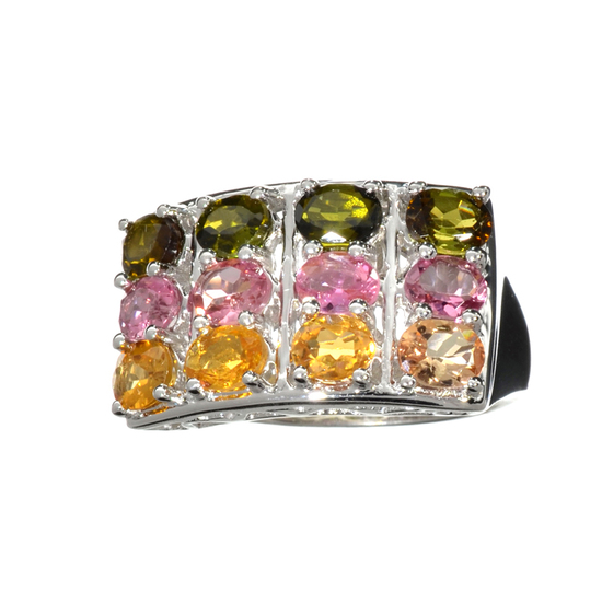3.72CT Oval Cut Multi-Colored, Multi Precious Gemstones And Platinum Over Sterling Silver Ring