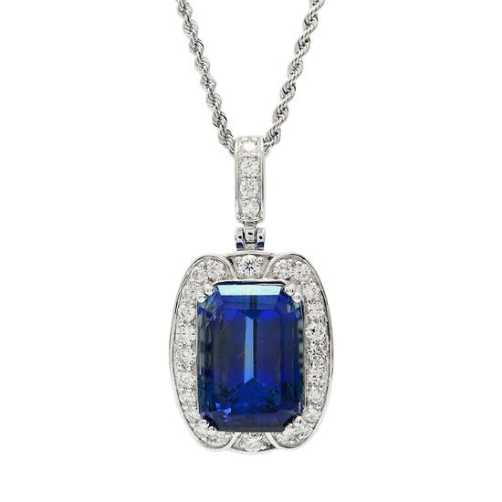 APP: 51.6k *18.83ct Tanzanite and 1.12ctw Diamond Platinum Pendant/Necklace (GIA CERTIFIED) (Vault_R