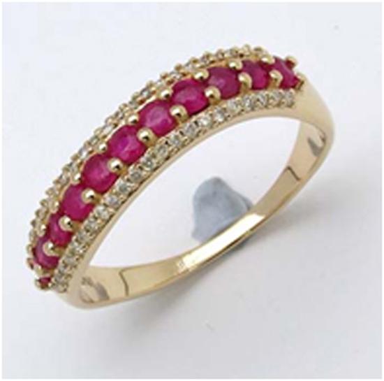 *Fine Jewelry 14K Gold, 2.73CT Ruby Round And White Round Diamond Ring (Q-R19277RWD-14KY)