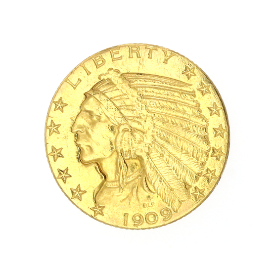 Extremely Rare 1909-D $5 U.S. Indian Head Gold Coin