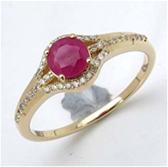 *Fine Jewelry 14K Gold, 2.34CT Ruby Round And White Round Diamond Ring (Q-R19313RWD-14KY)