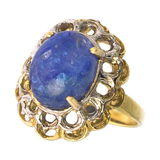 APP: 5.6k 14 kt White and Yellow Gold, 5.98CT Oval Cut Cabochon Tanzanite Ring