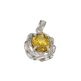 APP: 0.9k Fine Jewelry 3.00CT Oval Cut Citrine/White Sapphire And Sterling Silver Pendant