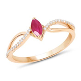 *Fine Jewelry 14K Gold, 1.87CT Ruby Marquise And White Round Diamond Ring (Q-R20579RWD-14KY)