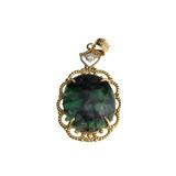 APP: 2.3k Fine Jewelry 14 KT Gold, 9.90CT Oval Cut Cabochon Green Emerald And Diamond Pendant