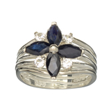 APP: 1k Fine Jewelry Designer Sebastian, 1.88CT Sapphire And White Topaz Sterling Silver Ring