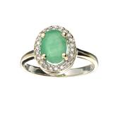 APP: 3k Fine Jewelry 14 KT White Gold 1.40CT Green Beryl Emerald And Diamond Ring