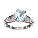 APP: 0.4k Fine Jewelry 2.53CT Blue Topaz And White Sapphire Sterling Silver Ring