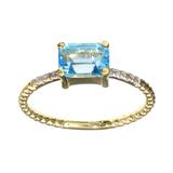 APP: 0.7k Fine Jewelry 14 KT Gold, 1.38CT Blue Topaz  And Diamond Ring