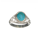 APP: 0.3k Fine Jewelry 1.94CT Cabochon Cut Blue Turquoise And Sterling Silver Ring