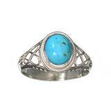APP: 0.3k Fine Jewelry 1.94CT Cabochon Blue Turquoise And Sterling Silver Ring