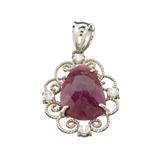 Fine Jewelry Designer Sebastian 6.52CT Cabochon Ruby And White Topaz Sterling Silver Pendant