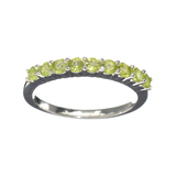 APP: 0.8k Fine Jewelry 0.75CT Round Cut Green Peridot And Platinum Over Sterling Silver Ring