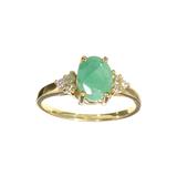 APP: 1.1k Fine Jewelry Designer Sebastian 14 KT Gold, 1.25CT Green Emerald And White Sapphire Ring