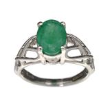 APP: 0.6k Fine Jewelry Designer Sebastian, 1.64CT Oval Cut Emerald And Sterling Silver Ring