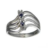 Fine Jewelry Designer Sebastian 0.27CT Round Cut Sapphire And White Topaz Sterling Silver Ring