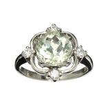 Fine Jewelry Designer Sebastian 2.95CT Round Cut Green Quartz And White Topaz Sterling Silver Ring