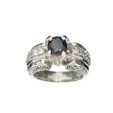 Fine Jewelry Designer Sebastian 1.65CT Round Cut Blue Sapphire And White Topaz Sterling Silver Ring