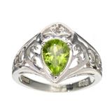 APP: 0.5k Fine Jewelry Designer Sebastian, Pear Cut 1.12CT Peridot And Sterling Silver Ring