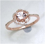 *Fine Jewelry 14K Rose Gold, 1.96CT Morganite Round And White Diamond Ring (Q-R19190MGWD-14KR)