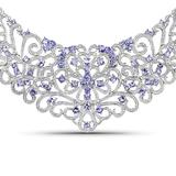 APP: 7.2k 22.86 Round Cut Tanzanite and White Diamond .925 Sterling Silver Necklace -Magnificent Qua